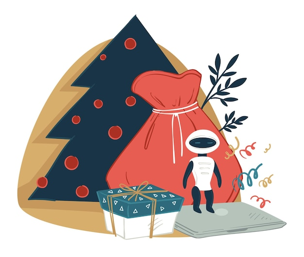 Gifts in sack, presents for celebrating xmas and new year. christmas pine tree with decorative baubles and bag with innovative gadgets for kids. robot and modern laptop. vector in flat style