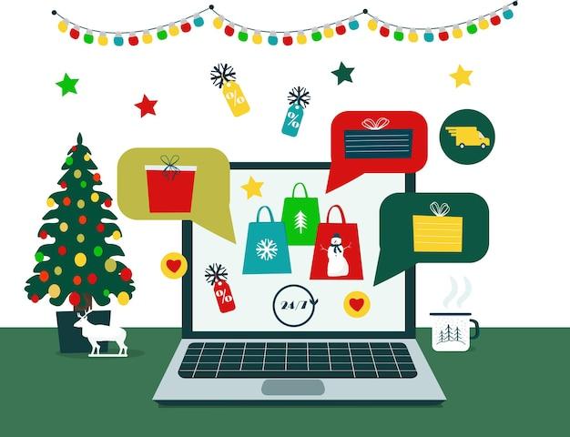 크리스마스와 새해를 위한 선물, 쇼핑, 판매 온라인. 크리스마스 온라인 쇼핑, 전자 상거래.