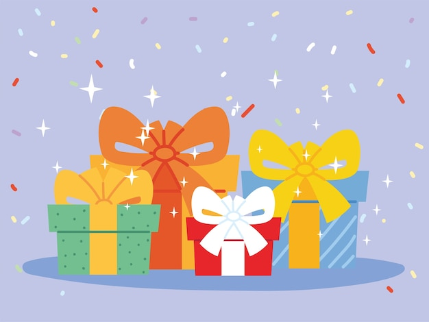 Gifts with bowties, box present holiday christmas shopping birthday celebration decoration and surprise theme illustration