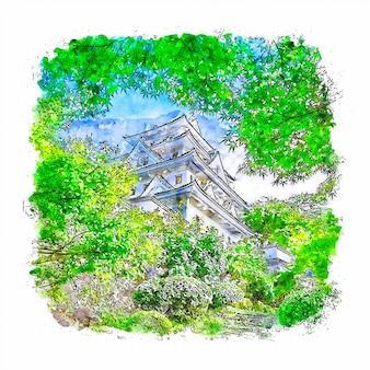 Замок гифу япония акварельный эскиз рисованной иллюстрации