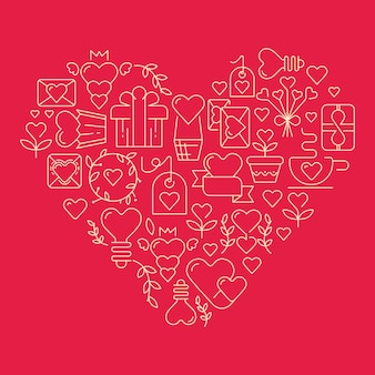 Gigantic heart with many elements symbolizing valentines day vector illustration