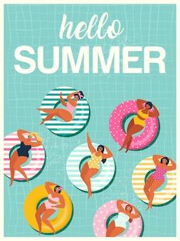 こんにちは夏のプールでの膨脹可能な水泳リングにgilsとフロート背景