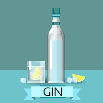 Gin bottle glass lemon alcohol drink icon flat