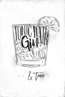 Gin tonic cocktail with lettering