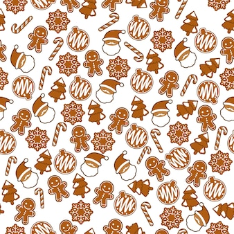 Ginger bread christmas theme seamless pattern