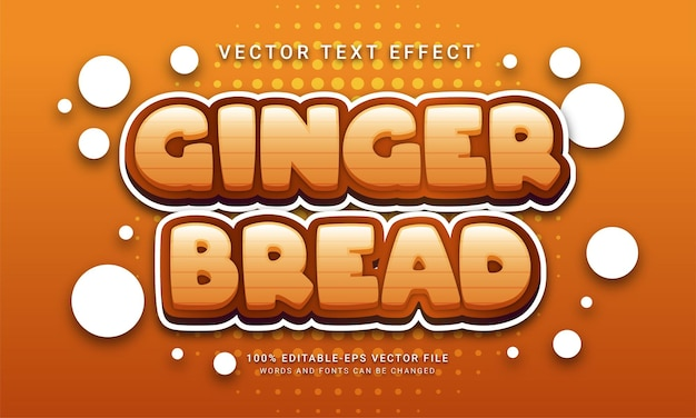 Ginger bread editable text effect with winter season theme
