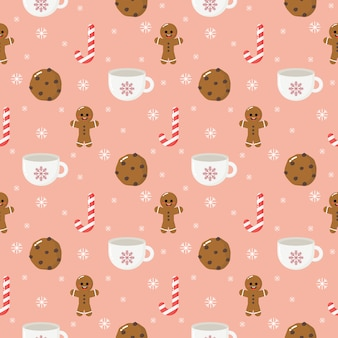 Ginger cookie christmas dessert seamless pattern isolated on pink background