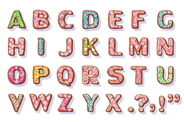Ginger cookies alphabet. christmas food letters cartoon set isolated on white.
