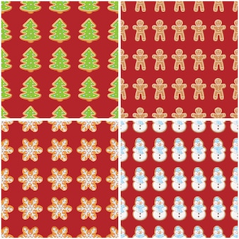 Ginger cookies seamless patterns. christmas and new year backgrounds set collection.