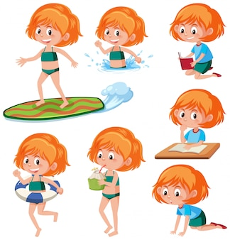 Ginger headed girl activity character