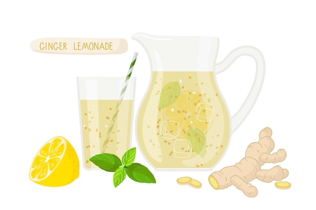 Ginger lemonade in glass jug pitcher and glass with lemonade lemon fruit mint ginger root