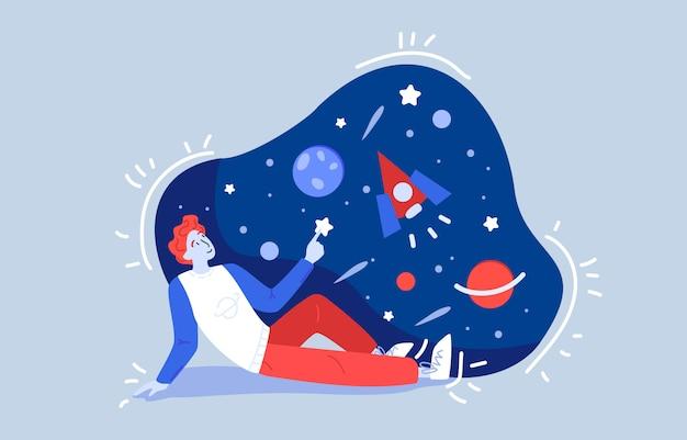 ジンジャー男性のティーンエイジャーは地面に座って、ロケット、星、満月、木星、夜空を見ます。天文学と科学のテーマ。漫画色フラットイラスト