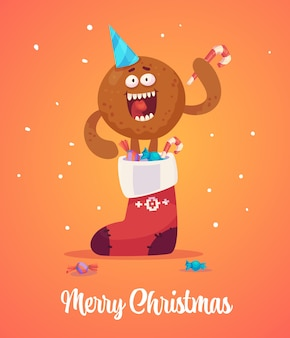 A ginger man gets out of a sock with gifts and holds sweets in his hands.