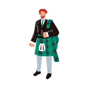 퀼트 스커트와 함께 전통적인 남성 스코틀랜드 의상 녹색 타탄 정장에 생강 남자