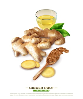 Ginger root 3d composition