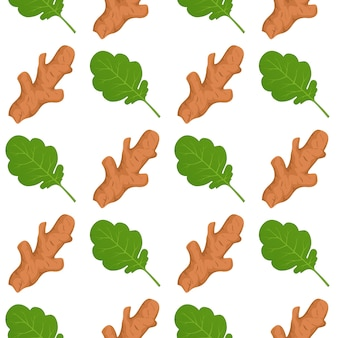 Ginger roots and ginger leaves seamless pattern background.