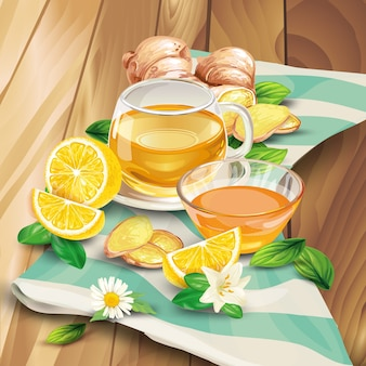 Ginger tea composition on wooden background