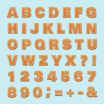Gingerbread alphabet. christmas vector ginger cookies
