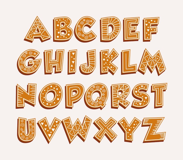 Gingerbread alphabet merry christmas