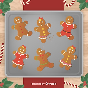 Gingerbread bitten cookies illustration
