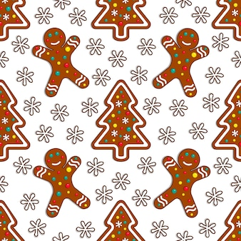 Gingerbread candy seamless pattern on white background