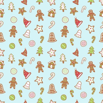 Gingerbread cartoon seamless pattern.