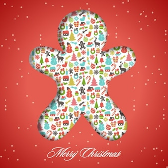 Gingerbread chape red background