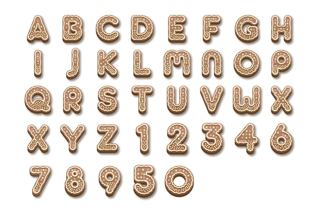 Gingerbread christmas alphabet from a to z