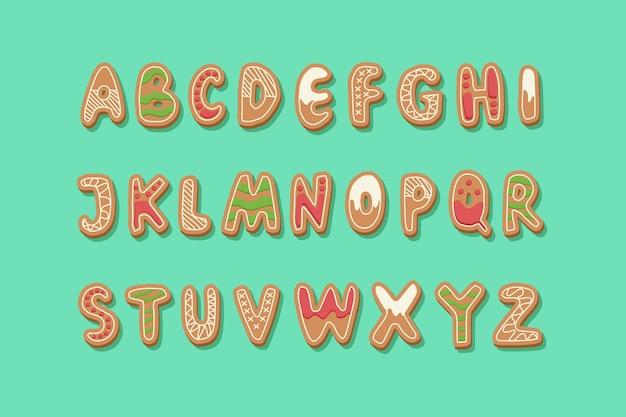 ジンジャーブレッドのクリスマスアルファベットパック