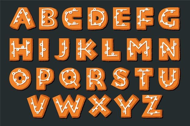 ジンジャーブレッドのクリスマスアルファベットセット