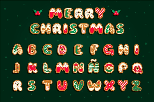 Gingerbread christmas alphabet set