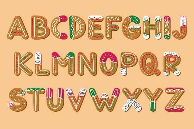 Insieme di alfabeto di natale di pan di zenzero