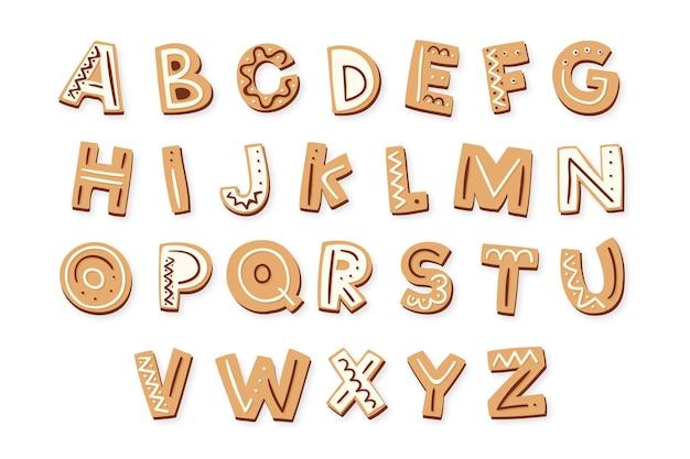 ジンジャーブレッドのクリスマスのアルファベット