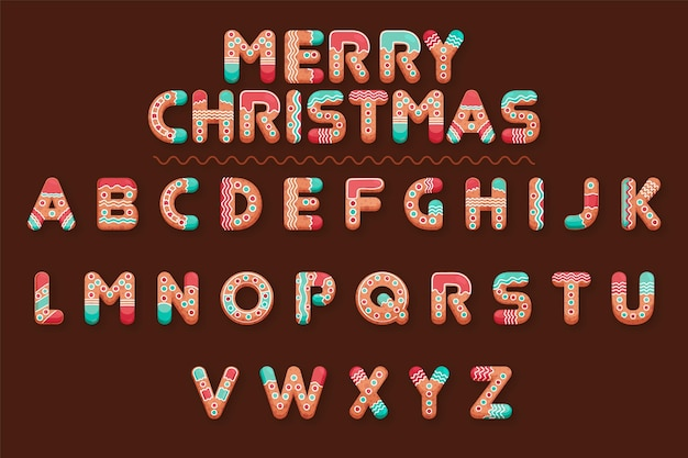 Gingerbread christmas alphabetical letters