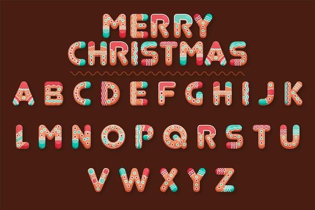 ジンジャーブレッドのクリスマスのアルファベット文字