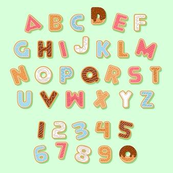 Gingerbread christmas cookie alphabet