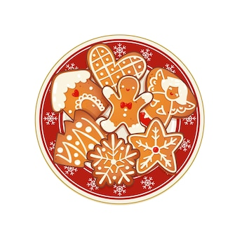 Gingerbread christmas cookies on red plate with snowflakes. top view vector illustration for new year and winter holiday design.