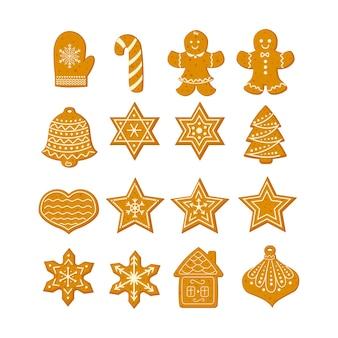 Пряничное рождественское печенье со звездами, снежинками, елкой и имбирным человечком