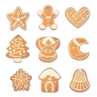 진저브레드 크리스마스 귀여운 쿠키 세트입니다. 새해 디자인을 위한 비스킷 캐릭터. 벡터 catroon 그림입니다.