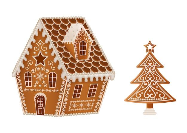 ジンジャーブレッドのクリスマスの家と木
