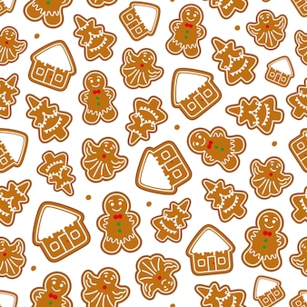 Gingerbread christmas seamless pattern