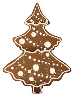 ジンジャーブレッドのクリスマスツリーの形。白いイラストで隔離