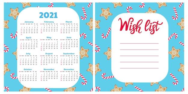 ジンジャーブレッドクッキーとロリーポップ。ウィッシュリスト。 2021年の壁掛けカレンダー。クリスマスの背景。