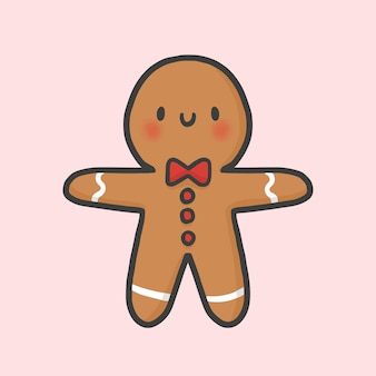 Gingerbread cookie christmas hand drawn cartoon style vector