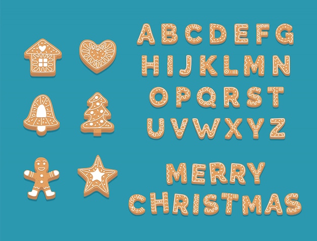 Gingerbread cookie collection, cute christmas alphabet and cookies