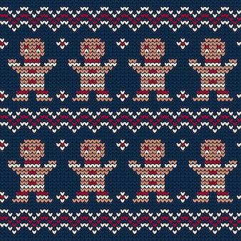 Gingerbread cookie knitted pattern of christmas