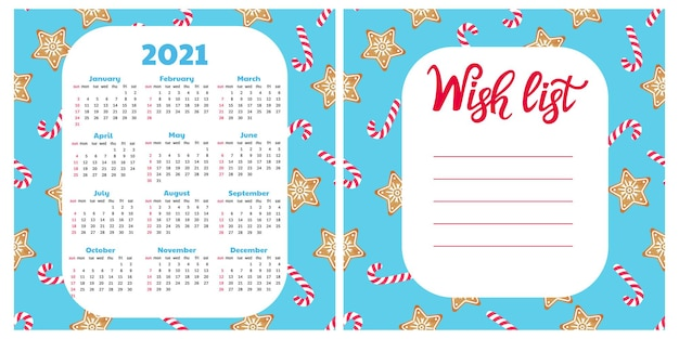 Gingerbread cookie and lollypop. wish list. wall calendar for 2021. christmas background.