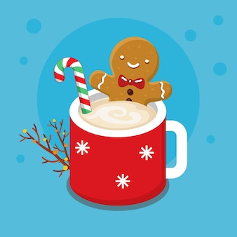 Gingerbread cookie man in a hot cup of cappuccino illustration