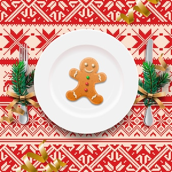 Gingerbread cookie man on the plate