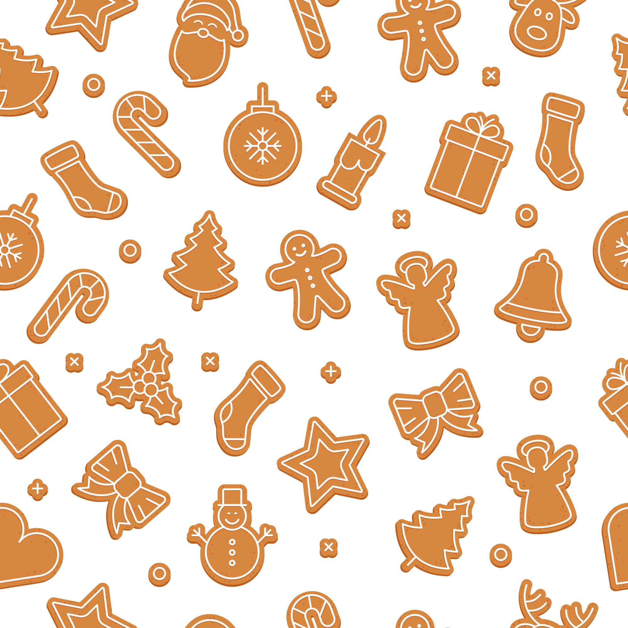 Gingerbread cookie set seamless pattern isolated background